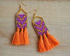 Borla pendientes flecos pendientes cuentas pendientes declaración pendientes tribales pendiente Bohemia Boho Azteca pendientes de borla pendientes oro naranja