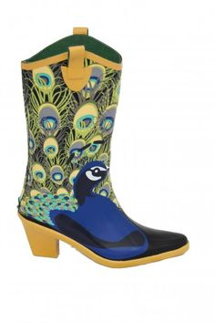 Peacock cowboy boots. My only comment is wow. I don't think that even peacocks can make me like cowboy boots.