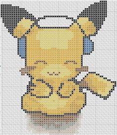 Cutest Pikachu Ever Pokemon Cross Stitch, Geek Cross Stitch, Cute Cross Stitch, Beaded Cross Stitch, Cross Stitch Designs, Cross Stitch Patterns, Graph Crochet, Tunisian Crochet, Minecraft Beads