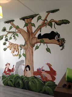 Jungle book muurschildering gemaakt door joan of arts. www.facebook.com/joanschetst