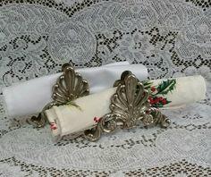 Vintage Ornate Napkin Holder Set of 2, EP Zinc Alloy Silver Napkin Holders, Fancy Napkin Holder Set, Vintage Letter Holder by…