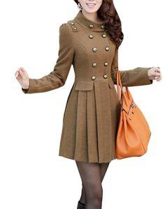 6cf090783b3 Womens Winter Warm Wool Blend Slim Long Jacket Trench Coat Outwear Fengbay  http
