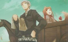 Holo and Kraft Lawrence from the anime series Spice and Wolf ( 狼と香辛料 ) Kentaro Miura, Berserk, Spice And Wolf Holo, Panini Comics, Wolf Ears, Wolf Images, Anime Artwork, Best Graphics, Anime Couples