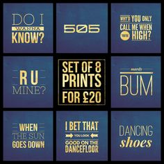 "Set of 8  Arctic Monkeys Song Title Prints - Square 8x8"" Each - Quote Rock Indie Pop Music Lyric Typography - Poster Wall Art Gift Mancave #arcticmonkeys #am #alexturner #poster #doiwannaknow #505 #whydyouonlycallmewhenyourehigh #rumine #mardybum #whenthesungoesdown #ibetthatyoulookgoodonthedancefloor #dancingshoes #sheffield #poster"