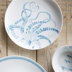 Hand painted Watercolour Octopus Plate - Tara Dennis