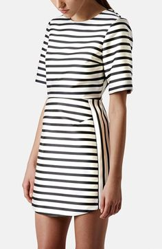 Topshop Stripe Satin Dress