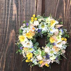 春の草原の様なリース・アーティフィシャルフラワー 19cm / skr フラワー・リース JOY FlowerWorks ハンドメイド通販・販売のCreema