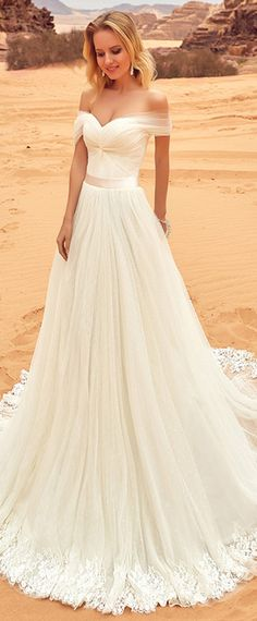Fantastic Tulle Off-the-shoulder Neckline A-line Wedding Dress With Lace Appliques