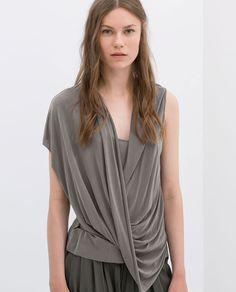 Image 1 of DRAPED CAP-SLEEVE TOP from Zara