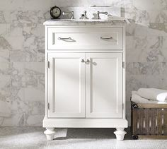 Classic Modular Single Mini Sink Console with Doors #potterybarn- chair rail over marble backsplash