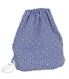 """SIX """"Trend"""" Turnbeutel aus Canvas in blau-weißem Rauten-Design (463-112)"""