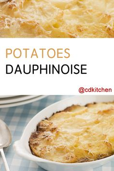 Potatoes Dauphinoise is a traditional French dish made up of sliced potatoes that are baked in a rich cream sauce. This version uses the microwave to speed up the cooking process. You can use your favorite kind of cheese but traditional recipes use Gruyere. | CDKitchen.com