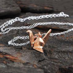 Origami Crane Necklace Rose Gold
