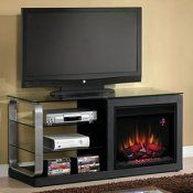 Luxe Electric Fireplace Media Console in Black Metal - 23MM9501-B974