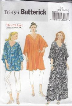 Butterick Sewing Pattern 5494 Misses Size 16-26 Easy Knit Top Tunic Dress Caftan Kaftan