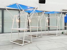 kahing design constructs temporary micro-structures out of PVC pipes Muebles Home, Portable Gazebo, Canopy Cover, Market Stalls, Canopy Tent, Furniture Market, Jewellery Display, Design Projects, Closet Organization