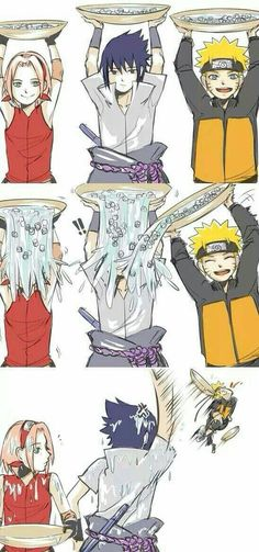 Team 7 does the Ice Bucket Challenge, in which Sasuke will proceed to kill Naruto because he doused him with his water. Anime Naruto, Art Naruto, Sakura E Sasuke, Kurama Naruto, Naruto Sasuke Sakura, Naruto Shippuden Anime, Boruto, Kakashi, Sakura Haruno