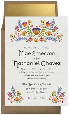 Flores Mexicanas by Signature Greenvelope Create Invitations, Floral Wedding Invitations, Birthday Invitations, Invites, Mexican Themed Weddings, Gala Themes, Text Layout, Mexican Party, Stationery Design