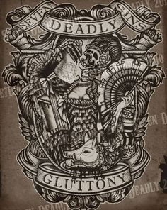 SE7EN DEADLY - DEADLY GLUTTONY PRINT 11x14 // want this for my kitchen