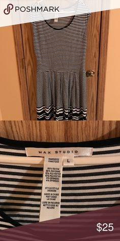 Black&white Striped Dress Flowy black and white t shirt dress, fits nicely and true to size, worn two times Max Studio Dresses