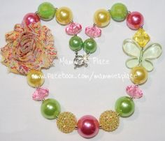 Chunky Bead Necklace Shabby & Butterfly Girl by MammiesPlace, $17.00