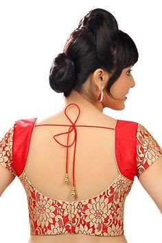Tomato #red & #gold designer wear raw #silk with net layer delicate #blouse -BL706