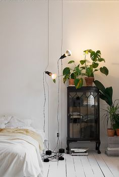 white walls, white wood floors, lamps