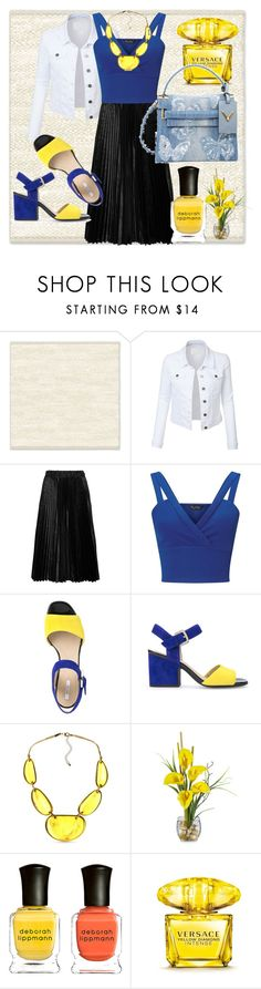 """""""yellow touch"""" by francymayoli ❤ liked on Polyvore featuring West Elm, LE3NO, Comme des Garçons GIRL, Miss Selfridge, Geox, Kim Rogers, Deborah Lippmann, Versace and Valentino"""