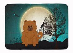 Halloween Scary Chow Chow Red Machine Washable Memory Foam Mat BB2332RUG