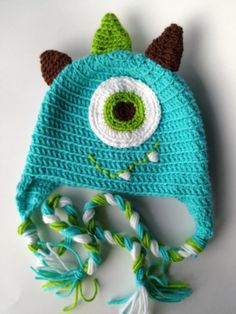 Crocheted Monster Hat in Turquoise, Lime Green, and Brown by MonkeyHatz.com