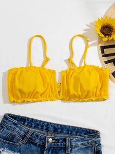 Wired Bikini, Yellow Pattern, Bra Types, Swimsuits, Swimwear, Spandex Fabric, No Frills, Bikini Tops, String Bikinis