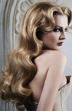 Vintage hairstyles for long hair diy retro curls Ideas – – - New Site Vintage Hairstyles For Long Hair, Retro Hairstyles, Quick Hairstyles, Formal Hairstyles, Hairstyles With Bangs, Hollywood Glamour, Hollywood Stars, Hollywood Hair, Gatsby