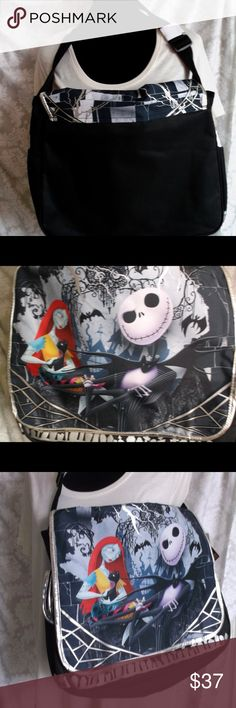 "The Nightmare Before Christmas Large Messenger Bag Tim Burton's the Nightmare Before Christmas Large Messenger Bag Jack Skellington messenger bag  Image of Jack and Sally with Halloween images behind them  From stop motion classic ""Nightmare Before Chtismas"" Licensed by Disney  Great for back to school for laptops and books  Measures 15"" wide and 13"" tall Closes with two velcro patches  100% authentic  Please let me know if you have any questions…. HAPPY to receive reasonable offers and…"