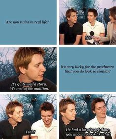 Fred and George, even in real life. Plus, I don't know if this was staged or if that interviewer is just stupid.