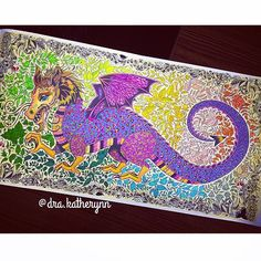#Repost @dra.katherynn ・・・ Finish it!!!  #florestaencantadatop #florestaencantada #vício #colors #livrodecolorir #colorindo #painting #paint #amocolorir #dragon #dragão #stabilo #fabercastell #InstaSize