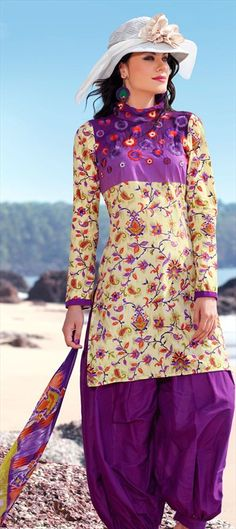95893 Beige and Brown color family Printed Salwar Kameez in Cotton fabric with Machine Embroidery, Resham, Thread, Printed work. Cotton Salwar Kameez, Indian Salwar Kameez, Punjabi Suits, Salwar Suits, Family Print, Neck Design, Kurtis, Cotton Fabric, Women's Fashion