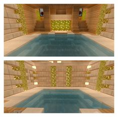 Indoor pool with double stairway! - Minecraft World Stairs Minecraft, Minecraft Bedroom, Cool Minecraft, Minecraft Buildings, Minecraft Barn, Minecraft Bridges, Lego Bedroom, Minecraft Furniture, Minecraft Skins