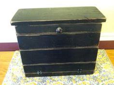 primitive distressed wood bread box by beecharmerprim on Etsy, $50.00