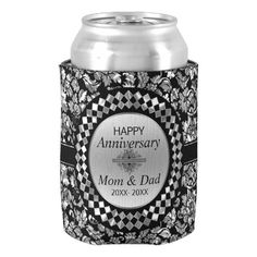 25th Anniversary Silver And Black Damask Can Cooler