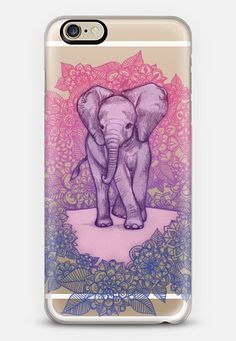 Cute Baby Elephant in pink, purple & blue on transparent iPhone 6 case by Micklyn Le Feuvre | Casetify