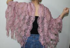 Powder pink knitting shawl Mother wedding shawls by PinarKnitting