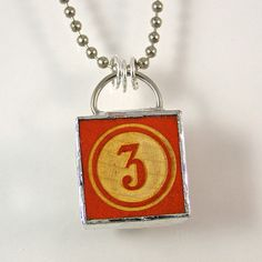 Number 3 Pendant Necklace by XOHandworks $20