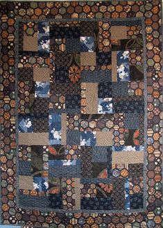 Patchwork Quilt  blue and brown Japanese Bits by kallistiquilts, $280.00
