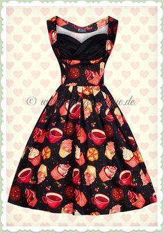d09fbea1618 Lady Vintage 50er Jahre Vintage Cupcake Kleid - Madison - Schwarz Pink Retro  Rockabilly Petticoat Kleid mit Tee   Cupcake Print in schwarz Aus Baumwoll  ...