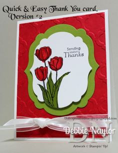 Unfrogettable Stamping | Quick and Easy tulip thank you card version #2 featuring the Stampin' Up! Blessed Easter stamp set www.unfrogettablestamping.typepad.com