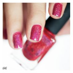 """Red holographic glitter nails. """"Closure"""" by ILNP"""