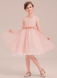 4c91f597180 A-Line Princess Knee-length Flower Girl Dress - Tulle Sleeveless V-neck  With Flower(s) - JJsHouse