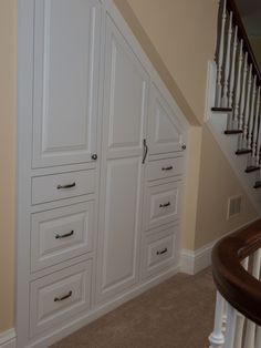 Cool Design for Under Stair Shoe Storage Ideas: Elegant Staircase With White Under Stair Closet And Shoe Storage ~ jsdpn.com Stairs Inspiration