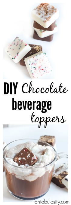 DIY chocolate beverage toppers for coffee or hot chocolate, and such a cute gift idea too! fantabulosity.com