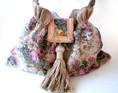 15 COUPON SALE Beige rose handbag gypsy boho by BoudicaBags
